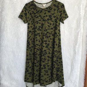 Lularoe Floral Green Back Carly Swingback Dress